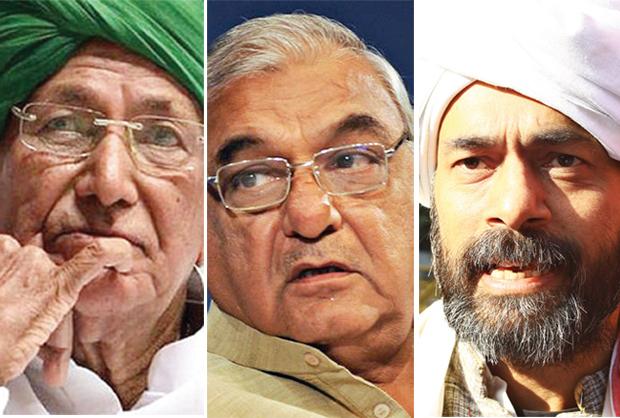 बुकोणीय दंगल ओमप्रकाश चौटाला, भूपिंदर हुड्डा और योगेंद्र यादव (बाएं से दाएं)