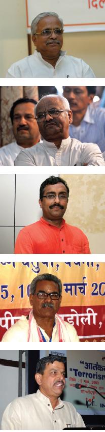सुरेश 'भैयाजी' जोशी, सुरेश सोनी, राम माधव, कृष्ण गोपाल दत्तात्रेय होसबोले (ऊपर से)