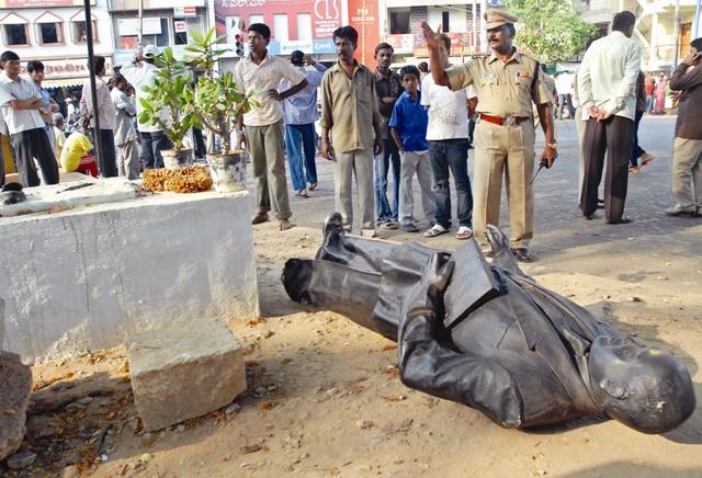 Dr Ambedkar Statue Damaged (1)hhhh