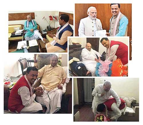 सियासी मुलाकात प्रधानमंत्री नरेंद्र मोदी, भाजपा अध्यक्ष अमित शाह समेत पार्टी के दूसरे वरिष्ठ नेताओं के साथ केशव प्रसाद मौर्य